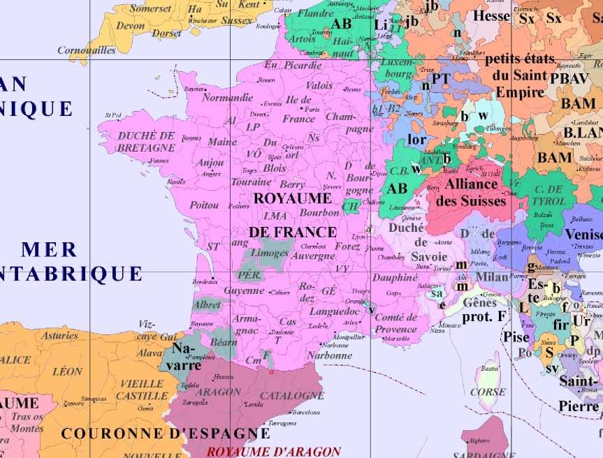 carte de france 1500